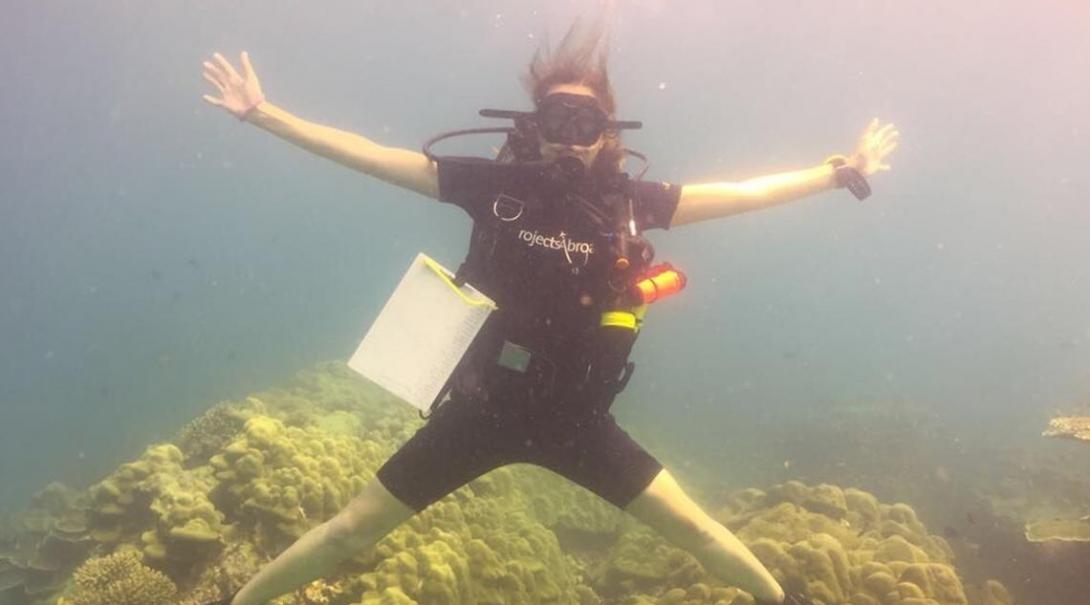 Aline lors d'une plongée sur le projet écovolontariat en Thaïlande